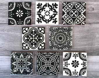 Mixed Set of 8 Black and Off-White Mexican Tile Coasters