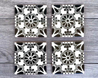 """Black and Off-White """"Ramos"""" Mexican Tile Coasters"""