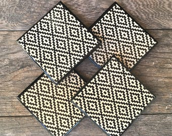 "Aztec Tribal Pattern ""Allison"" Ceramic Coasters with Black Trim"