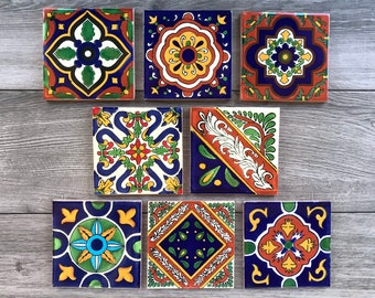 Mixed Set of 8 Mexican Tile Coasters