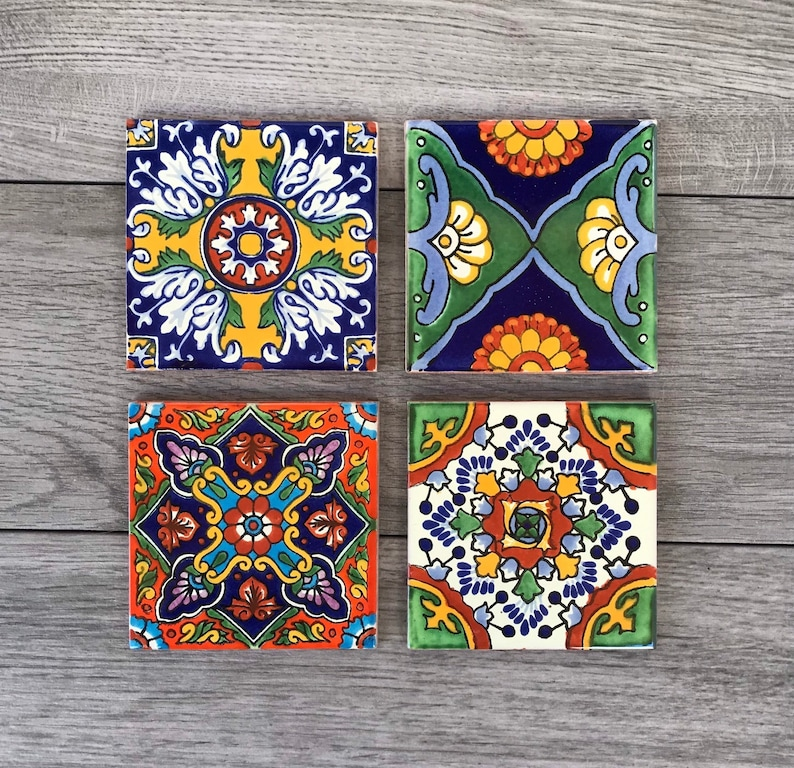 Choose Your Own Set of 4 Mexican Tile Coasters  Mix And Match image 1