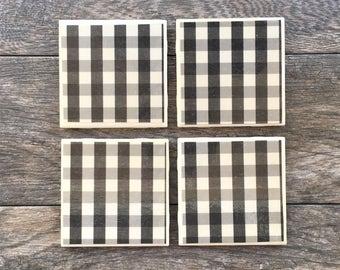 "Black and White Buffalo Plaid ""Jack"" Ceramic Coasters"