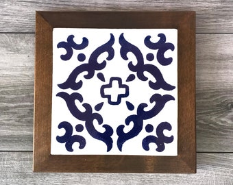 """Blue and Off-White """"Barroco"""" Mexican Tile Trivet with Wood Frame"""