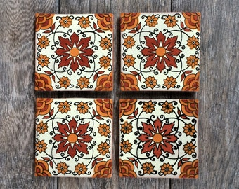 "Orange ""Enredadera"" Mexican Tile Coasters"