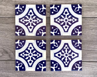 """Blue and Off-White """"Elegante"""" Mexican Tile Coasters"""