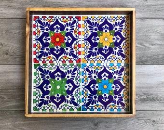 "Large Wooden Decorative Tray with Multicolored ""Escamilla"" Mexican Talavera Tiles"