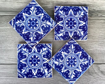 """Blue and White """"Bosque"""" Mexican Tile Coasters"""