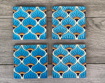 """Sky Blue Peacock """"Pavo Real"""" Mexican Tile Coasters"""