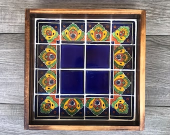 Small Wooden Decorative Tray with Mexican Talavera Tiles