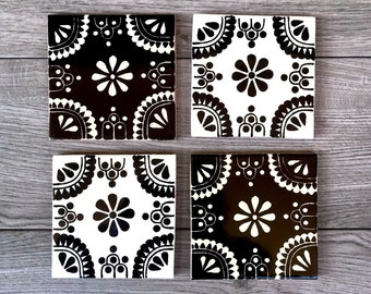 Mixed Set of 4 Black and Off-White Mexican Tile Coasters