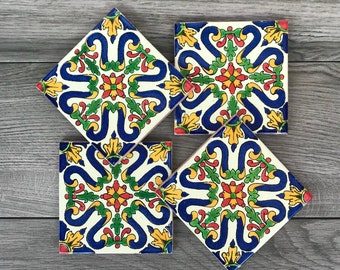 """Blue and Red """"Candela"""" Mexican Tile Coasters"""