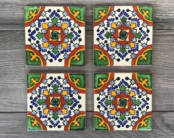 """Green """"Nube"""" Mexican Tile Coasters"""