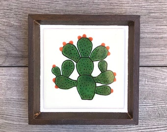 Mexican Tile Ring Tray with Cactus Tile