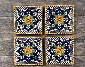 "Orange ""Escamilla"" Mexican Tile Coasters"