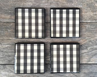 "Black and White Buffalo Plaid ""Cliff"" Ceramic Coasters with Black Trim"