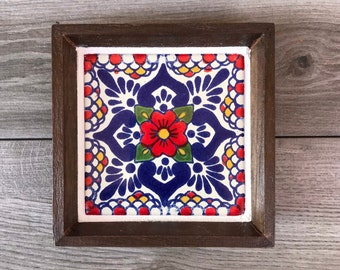 """Mexican Tile Ring Tray with Red """"Escamilla"""" Tile"""