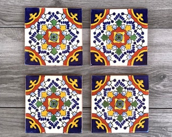 """Blue """"Nube"""" Mexican Tile Coasters"""