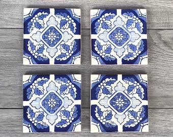 "Light Blue ""Positano"" Mexican Tile Coasters"