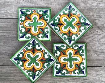 "Green ""Flor De Liz"" Mexican Tile Coasters"