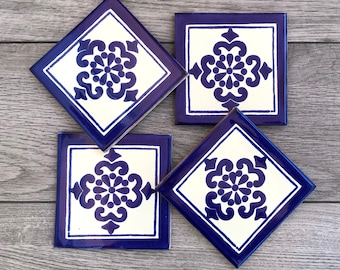 """Blue and Off-White """"Anita"""" Mexican Tile Coasters"""