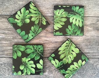 "DISCOUNTED - Green Tropical Leaf Pattern "" Stacy"" Ceramic Coasters with Black Trim"