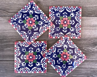 "Pink ""Escamilla"" Mexican Tile Coasters"