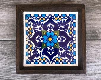 "Mexican Tile Ring Tray with Blue ""Escamilla"" Tile"
