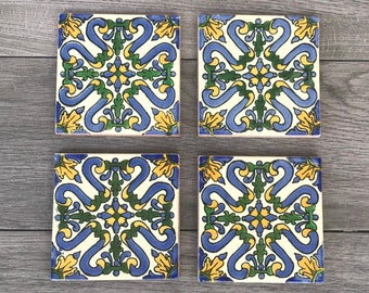 """Blue and Yellow """"Candela"""" Mexican Tile Coasters"""