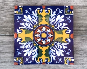 """6"""" Blue and Yellow """"Romanesco"""" Mexican Tile Trivet"""
