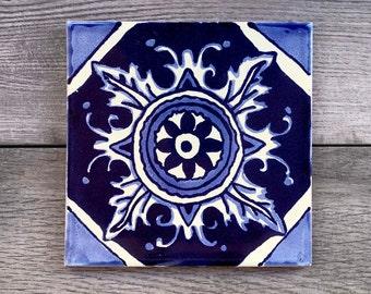"6"" Blue ""Fuego"" Mexican Tile Trivet"
