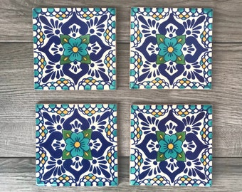 "Turquoise ""Escamilla"" Mexican Tile Coasters"