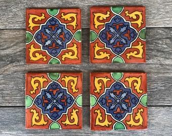 "Terra Cotta ""Granada"" Mexican Tile Coasters"