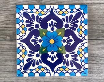 "6"" Blue ""Escamilla"" Mexican Tile Trivet"