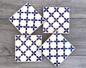 """Blue and Off-White """"Malla"""" Mexican Tile Coasters"""