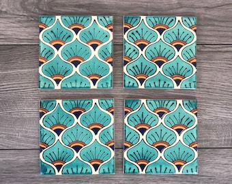 """Turquoise Peacock """"Pavo Real"""" Mexican Tile Coasters"""