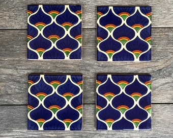 """Blue Peacock """"Pavo Real Azul"""" Mexican Tile Coasters"""