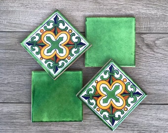 Mixed Set of 4 Green Mexican Tile Coasters