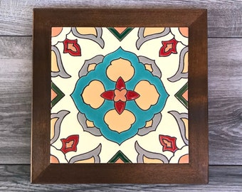 """Blue and Tan """"Monica"""" Malibu Mexican Tile Trivet with Wood Frame"""