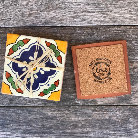Mexican Wedding Favors Ideas: Mexican Tile Coaster Wedding Favors PERSONALIZED