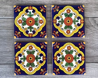 """Blue and Yellow """"Zarza"""" Mexican Tile Coasters"""
