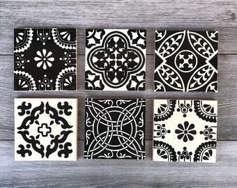 Mixed Set of 6 Black and Off-White Mexican Tile Coasters