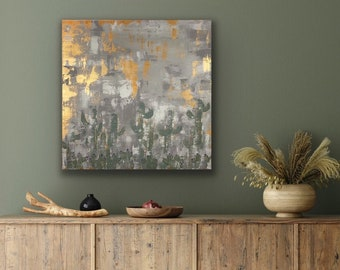 "Desert Painting. Cactus Canvas Art. Original Artwork. Metallic Art Painting. 24"" x 24"" Wall Hanging. Arizona Landscape Southwestern Art"