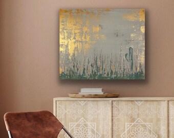 "Desert Canvas Art. Southwestern Art. Arizona Cactus Art. Abstract Hand Painted Gallery Wrapped Canvas Art. Metallic Canvas Art.  24"" x 20"""