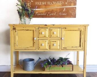 yellow sideboard etsy rh etsy com Yellow Sideboards & Buffets Yellow Sideboards & Buffets