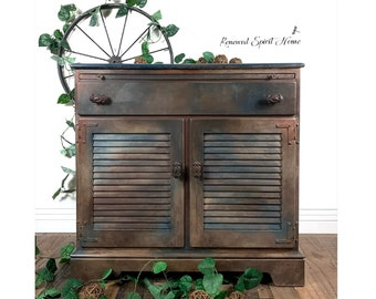 Industrial Farmhouse Sideboard Cabinet. Ethan Allen Rustic Buffet. Dining Room Storage Cupboard. Vintage Country Wine, Dry, Coffee Bar.