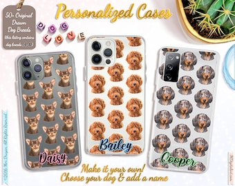 Customized Dog Breed Pattern On iPhone Case 7 8 X XS XR XS 11 12, Samsung S10 S20 S21, Make It Your Own Dog Case, A-D Breed List #ICPLPP01