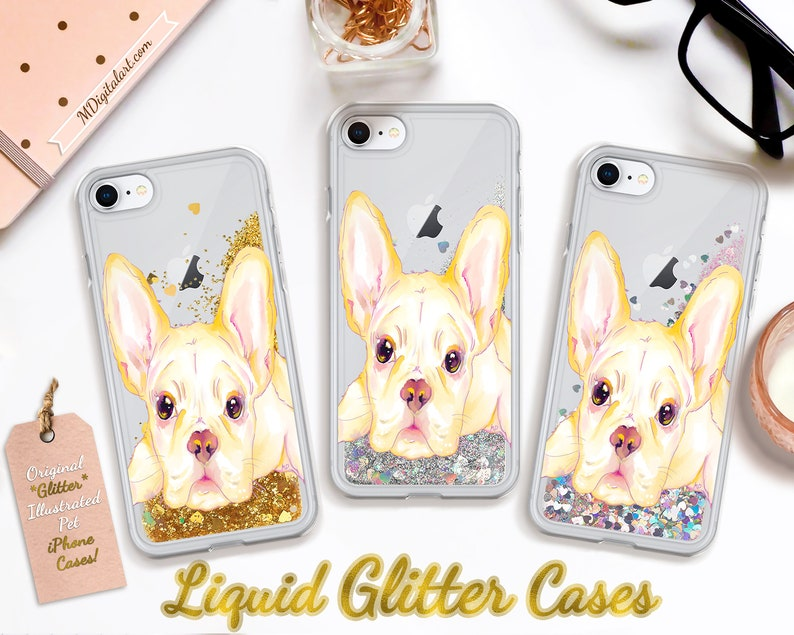 Sweet French Bulldog Colorful Liquid Glitter Case For iPhone 7 image 0