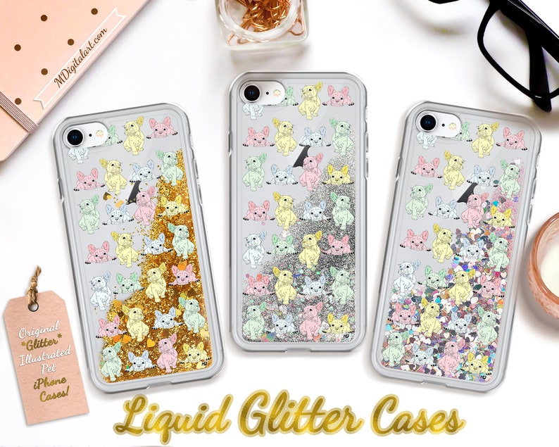 Cute French Bulldog Puppies Colorful Liquid Glitter iPhone image 0