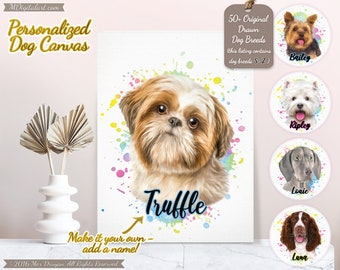 Custom Your Dog Breed Portrait On Canvas, Make It Your Own Dog Canvas, Personalized Dog Lover Gift, Pet Loss Gift, S-Z Breed List #PCPY03