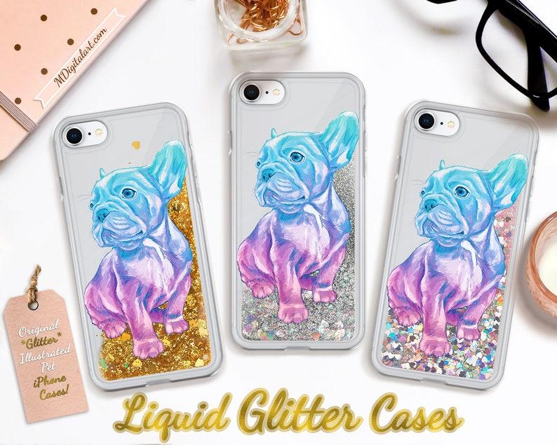 Adorable French Bulldog Colorful Liquid Glitter Case For image 0